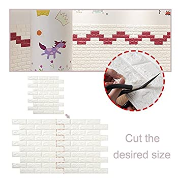 3D Brick Wall Stickers,Self Adhesive Wallpaper,DIY Removable White Wallpaper,Soundproofing Self- Adhesive Wallpaper for Living Room,Bedroom,Bar,TV Wall, Office,60*60CM (10 piece)