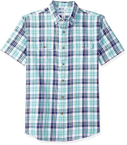 Amazon Essentials Herren Regular Fit-Hemd aus Baumwolltwill mit kurzen Ärmeln, Grün (Green/Blue Check Gbc), One Size (Herstellergröße: XS - XXL) -