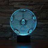 El dormitorio de los niños pequeños noche luz de fútbol en 3D luces coloridas luces LED táctil visual lámpara de mesa de regalos