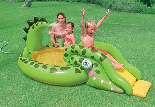 Intex Kids Children Inflatable Gator Adventure Paddling Pool Slide Water Spray Activity Play Center - For Beach, Garden, Outdoors, Summer Fun
