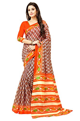 Glory Sarees Bhagalpuri Art Silk Saree(gloryart6_orange)