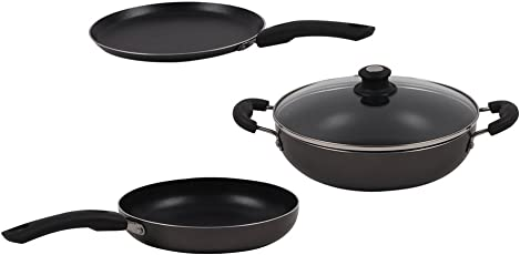 Lifelong Non-Stick 3-Piece Cookware Set,Black/Grey (Induction and Gas Compatible)