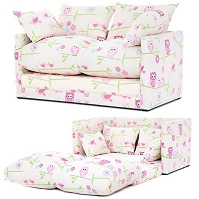 Ready Steady Bed Owls Twit Twoo Design Children's Fold-Out Sofa Bed, Pink