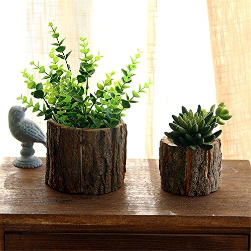 Vaso di fiori in legno con corteccia salice naturale piccolo cactus granaio vaso di fioriera decorativo vaso di fiori rustico rustico - grande