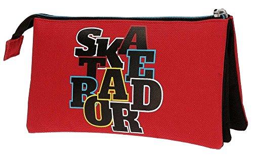 51GaIjJlLaL - Movom Skateboard Neceser de Viaje, 22 cm, 1.32 Litros, Rojo