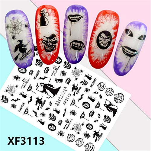 (Quaan 6 Color Horror Design Halloween 3D Nail Art Stickers Manicure Adhesive Transfer Decals)