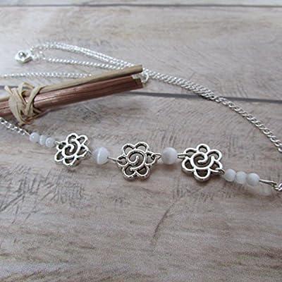 Headband serre tête, bijoux de cheveux fleur en métal argenté et perle blanche oeil de chat, cadeaux pour elle, anniversaire, Noël, maman, mariage
