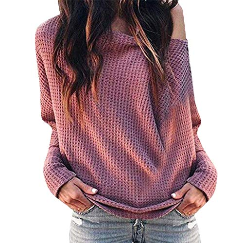 f88052773c83 Damen EIN-Schulter T-Shirt Langarm Outfit Mode Bluse Oberteile Frauren Sexy  Off-Schulter Tuniken Sweatshirt Oversize Pulli Pullovershirt Cool  Streetwear ...