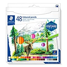 STAEDTLER 146C ST Classic Hexagonal Soft Lead High Pigmented Cardboard Case with 48 Bright Colours 146 C48 Coloured Pencils