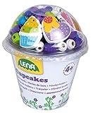 Lena 32001 - Bastelset Holzperlen in Cupcake Dose, mit 200 Fädelperlen, 3 Anhänger und 3 Schnüre, blau, Holzfädelperlen Set für Kinder ab 4 Jahre, Perlen Set zum selber gestalten von Schmuckketten