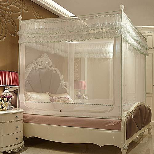GYPPG Prinzessin Palast Quadrat Moskitonetz, Haushalt Einzelbett Doppelbett DREI Offene Türen Voll Unterseite Rostfreier Stahl Halterung Verschlüsselung Mückennetz,White,1.2 * 2m - Drei Volle Tür