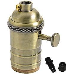 Splink Casquillo de Bombilla Cobre E27 casquillo vintage estilo de Industrial Light Socket Edison de la vendimia titular de cobre de la lámpara con la perilla (bronce)