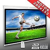 Écran de projection motorisé 200 x 153 cm SlenderLine Plus, Format 4:3 FULL-HD 3D 4K 8K, Écran de projection électrique pour vidéoprojecteur, Home Cinema, pour Mur ou Plafond, avec Télécommande