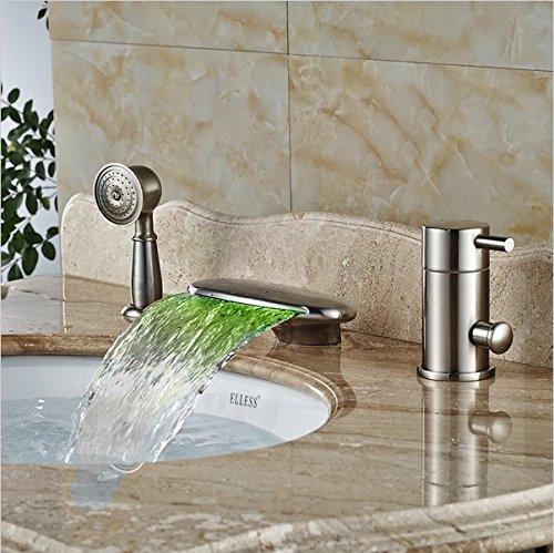 Gowe Nickel gebürstet Badezimmer Armaturen und Dusche LED Licht Wasserfall Badewanne Mischarmaturen Deck montiert -