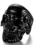 Sailimue Anillos de Acero Inoxidable para Hombre Mujer,Anillos de Cabeza de Cráneo Negro,Tamaño 11