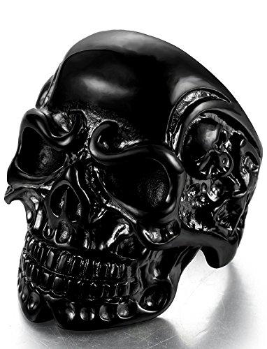 Sailimue Acier Inoxydable Bague pour Homme Femme Tête de Mort Noire Bague Gothique, Taille 70(22.2)