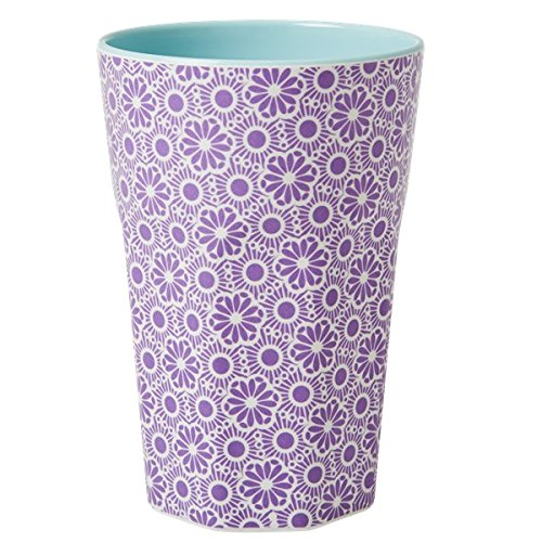 rice Becher Melamine Two Tone Latte Cup - Marrakesh Print - MAX Temp. 90C (Lila & White - Innen Türkis)