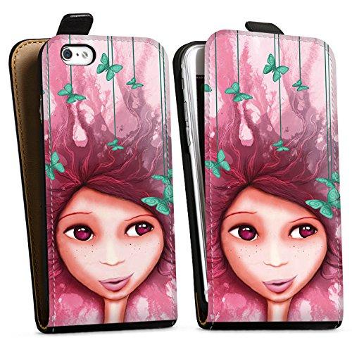 Apple iPhone X Silikon Hülle Case Schutzhülle Mädchen Schmetterling Pink Lila Downflip Tasche schwarz