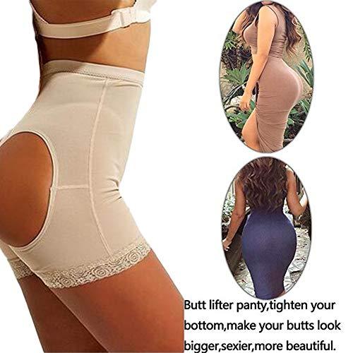 Biddtle Damen Miederslip Butt Lifter Figurformender Shapewear Push Up Enhancer Bauch Weg Höhe Taille Miederhose Unterwäsche,Beige,XL - 3