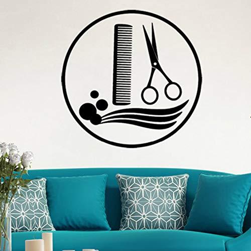 57x57cm Creative Hair Tools Muster Friseur Shop Dekorative Wandaufkleber für Barbershop Art Dekoration Vinyl Decals Murals