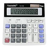Laurelmartina Calculadora electrónica multifunción TIANSE No Necesita batería Energía Solar 12 Pantalla Digital Contabilidad empresarial Vida Cotidiana