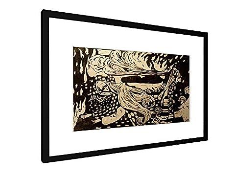 Wassily Kandinsky - Fuga - Holzschnitt 1907 - 60x40 cm - Bild mit Rahmen / Gerahmtes Poster - Kunstdruck - Wandbild - Kunst, Gemälde, Foto, Bild - Alte Meister / (Russische Folklore Kostüme)