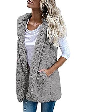 [Patrocinado]SHOBDW Mujeres invierno cálido chaleco piel sintética zip hasta Sherpa chaqueta sudadera con capucha ropa casual...