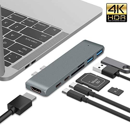 QKa Aluminium-Typ-C-Hub-Adapter mit Thunderbolt 3 (40 GBS), 4K-HDMI, USB-C-Daten, SD/Micro-Kartenleser, USB 3.0 - Kompatibel mit dem MacBook Pro 2016/2017/2018,Gray
