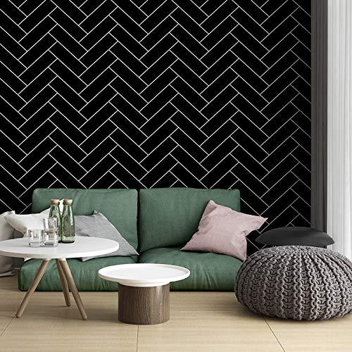 yhyxll Moderne minimalistische Schwarz-Weiß-Karotapete Weiße Ziegelsteintapete im nordischen Stil 1
