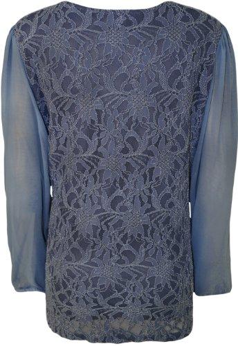 WearAll - Mousseline de Soie en Dentelle Top - Hauts - Femme - Grandes Tailles 42-56 Bleu