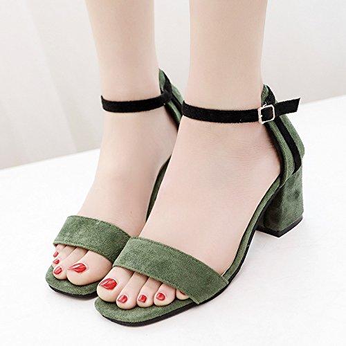 RUGAI-UE Le donne estate sandali fibbia Toe scarpe scarpe High-Heeled Green