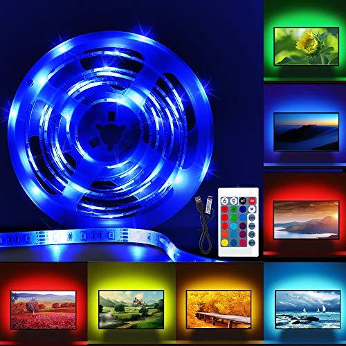 Led Tira de TV, Pomisty Tira Leds Lluminación Excelente Impermeable,2M USB Tira de LED Retroiluminación mit Control Remoto 24 Botones para TV DE 40 A 60 Pulgadas HDTV, Monitor de PC