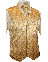 Paul Malone Hochzeitswesten Set 5tlg creme gold paisley Muster