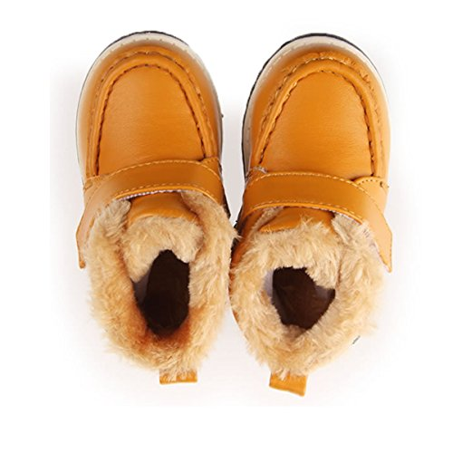 Happy Cherry Baby Schuhe Boots Jungen Winter Lauflernschuhe PU Baumwolle Stiefel Babyschuhe 12.5-14.5cm Kleinkind Krabbelschuhe für Baby 6-36 Monate Größe 19-23 - Größe/Farbe Wählbar Gelb