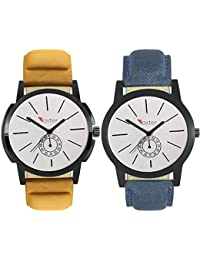 Talgo 2017 New Collection Foxter (combo Of 2) White Round Shapped Dial Leather Strap Fashion Wrist Watch For Boys... - B0763V6GVB