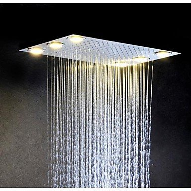 acier inoxydable 304 courant alternatif tête salle de bains de douche de pluie avec des lampes 6 pièces dirigées