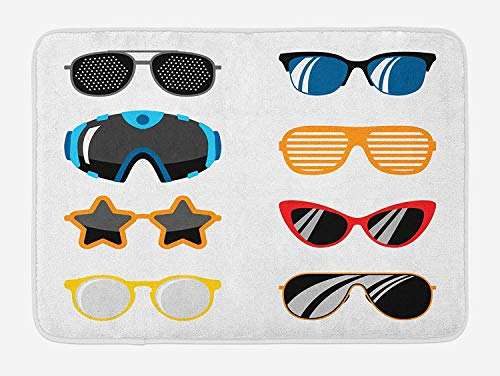 Vintage Modern Bath Mat, Contemporary and Retro Glasses Futuristic with Classic Eighties Spectacles, Plush Bathroom Decor Mat with Non Slip Backing, 23.6 W X 15.7 W Inches, Multicolor