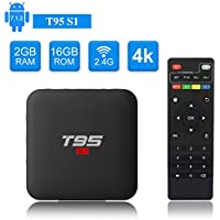 T95 S1 Android TV BOX, Android 7.1 Amlogic S905W Quad Core 2GB/16GB with Digital Display HDMI Ultra HD 4K Ethernet 2.4GHz Wifi H.265 Video Decoder