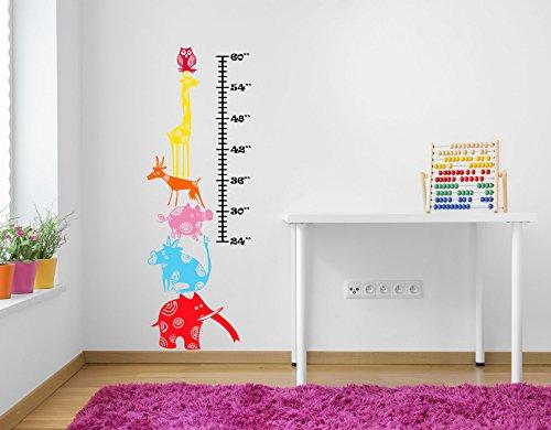 Funky gestapelt Animal Höhe und Wachstum Diagramm. Qualität Bright Farben Matt Vinyl Wand Aufkleber Aufkleber, Height 60inches/152cm Funky Animal