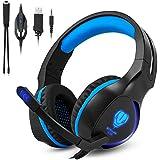 Zenoplige [Gaming Headset für PS4] Over-Ear Stereo Bass Gaming Kopfhörer mit Noise Isolation Mikrofon LED Licht für PS4 PC Laptop Computer Mobiltelefone