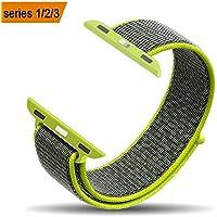 F-FISH New Nylon Sport Loop con chiusura a velcro Chiusura regolabile Polsino Replacment Band per iwatch Apple Watch Serie 1/2 / 3,38 / 42mm (42MM, Bordo verde)