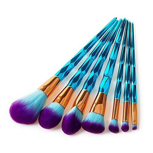 Dilla Beauty 7 Pcs Lot Bleu Diamant En Forme de Poignée En Plastique Licorne Fondation Cosmétique Ombre À Paupières Fard À Joues Pinceaux Pinceau de Maquillage Kit Cosmétique Brush Set Outils (7 Pcs)