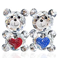 H&D 2pcs Crystal Collection Bear Figurines Paperweight