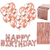 SUNBEAUTY Happy Birthday Ballon Rose Gold Decoration Anniversaire Kit 18 30 Fille Femme avec Frange Metallique et Nappe