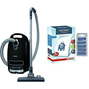 Miele Complete C3 Power Line Bagged Cylinder Vacuum Cleaner, 4.5 L, 1200 W - Black & Genuine GN HyClean 3D Efficiency Dust Bags for Miele Vacuum Cleaners + Free Fresheners