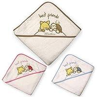 cape de bain animaux brodée et personnalisée avec un prénom, bébé enfant fille garçon 72x72cm, éponge, cadeau naissance, bapteme