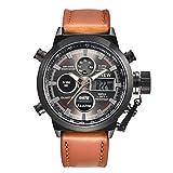 Fulltime Hommes Quartz Sport Armée militaire LED analogique en acier inoxydable montre-bracelet (C)