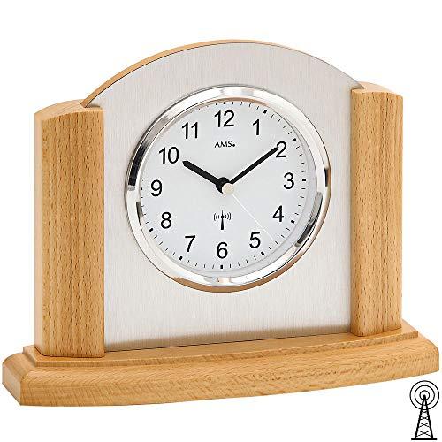 AMS Tisch Uhr Holz Tischuhr Funk Massivholz Buche