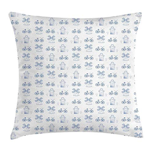 MLNHY Bicycle Throw Pillow Cushion Cover, Dutch Ornament Drawings in Blue Windmill Narrow House Bicycle Topiary Tree, Decorative Square Accent Pillow Case, 18 X 18 Inches, White Night Blue