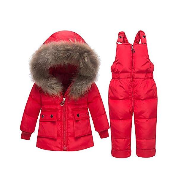 TYYM ski suit Niña Niño Traje De Nieve De 2 Piezas Niño Invierno Abrigo De Piel con Capucha Abrigada Abrigo De Plumón… 3